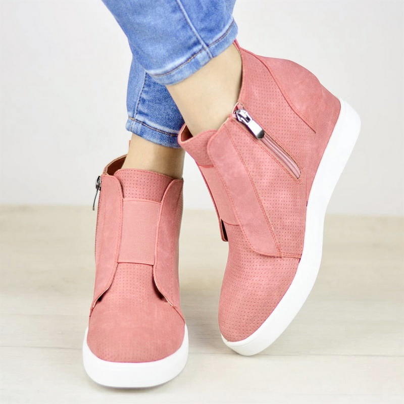 Women's Platform Sneakers Casual Loafers Side Zipper Ankle Boots Plus Size 35-43