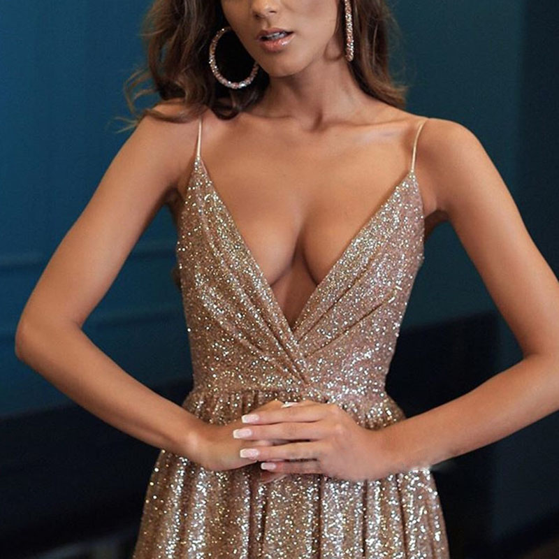 Sexy Sling Deep V Open Back Evening Gown