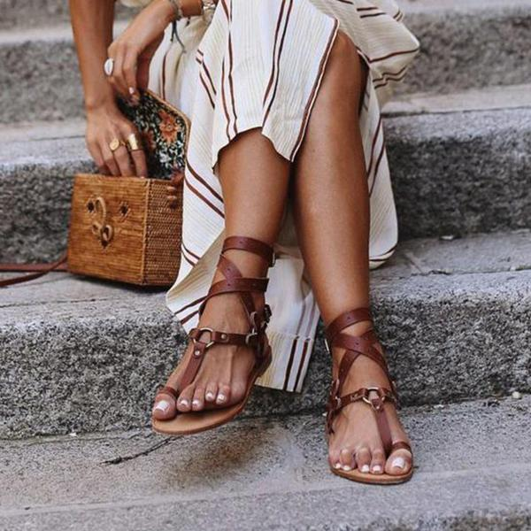 Faddishshoes Ankle Strap Flat Heel Strappy Comfortable Sandals