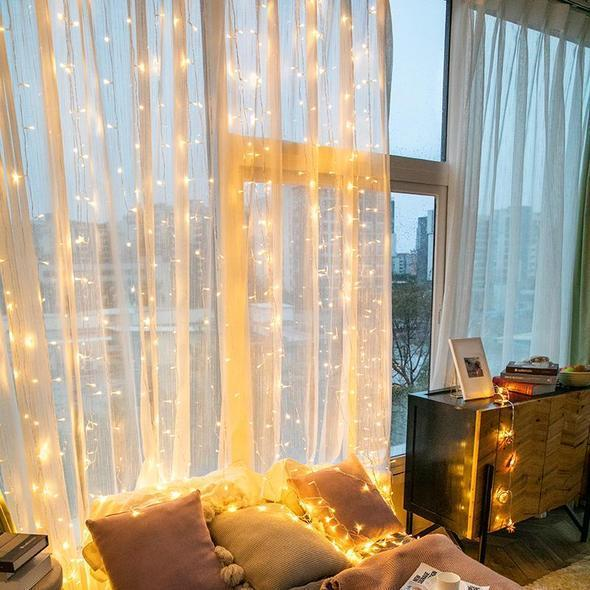 Curtain of String Lights with Remote