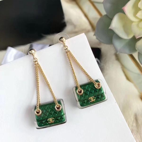2019 top famous designer gold-plated bag earrings fashion stainless steel earrings women's clothing