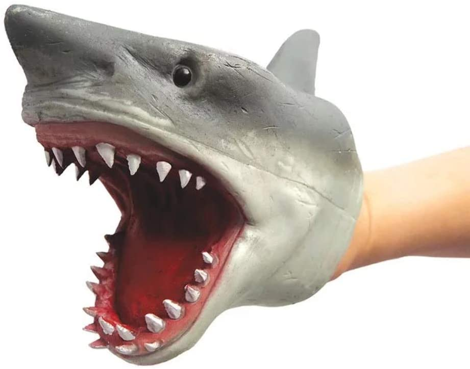 Shark Hand Puppet Toys, Soft Rubber Shark Puppets Role Play Toy for Kids