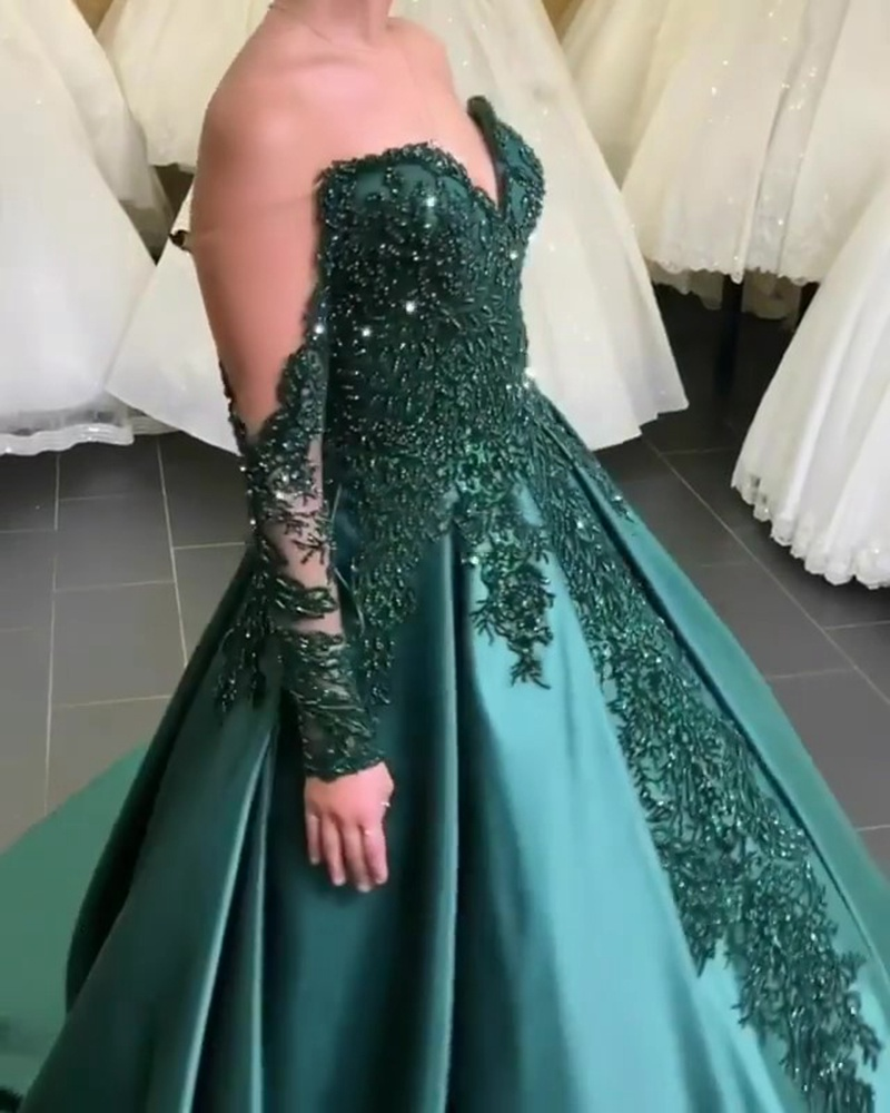 Solid Color Embroidered Long Sleeve Evening Dress
