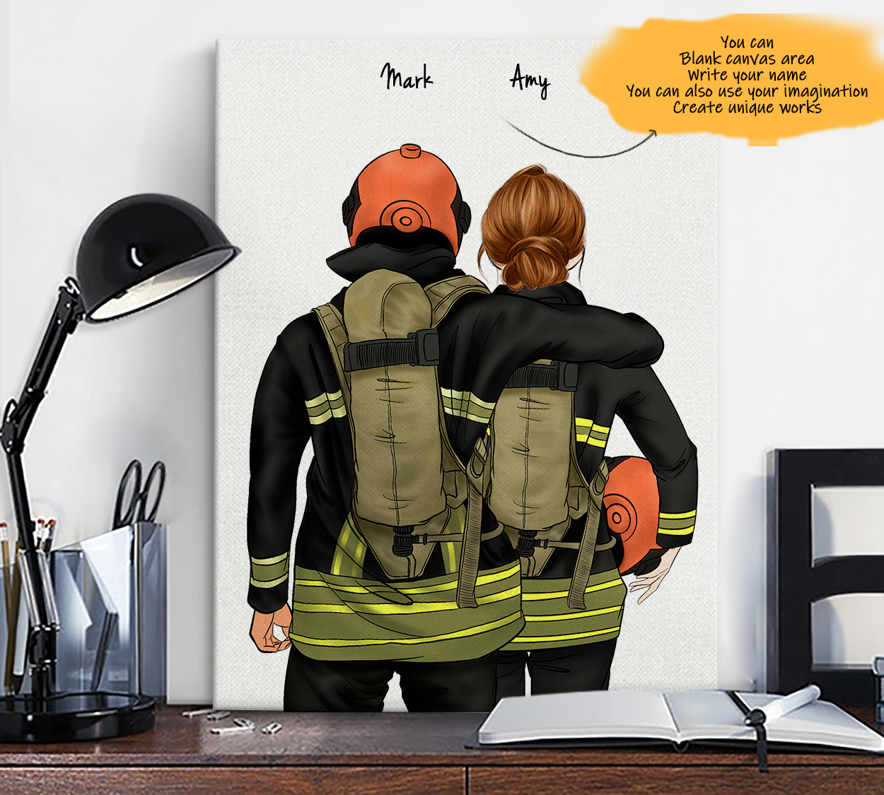 He is My Friend! Hand Draw Custom Canvas-Print Gift Fireman-Tan&Firefighter