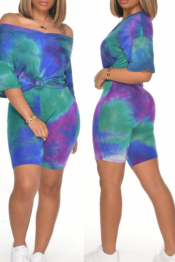 Fashionable Tie-dye V-neck Two-piece Suit
