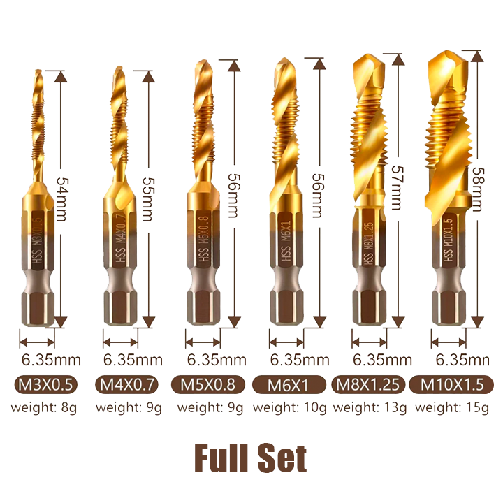 Thread Tap Drill Bits Set (3/6pcs)