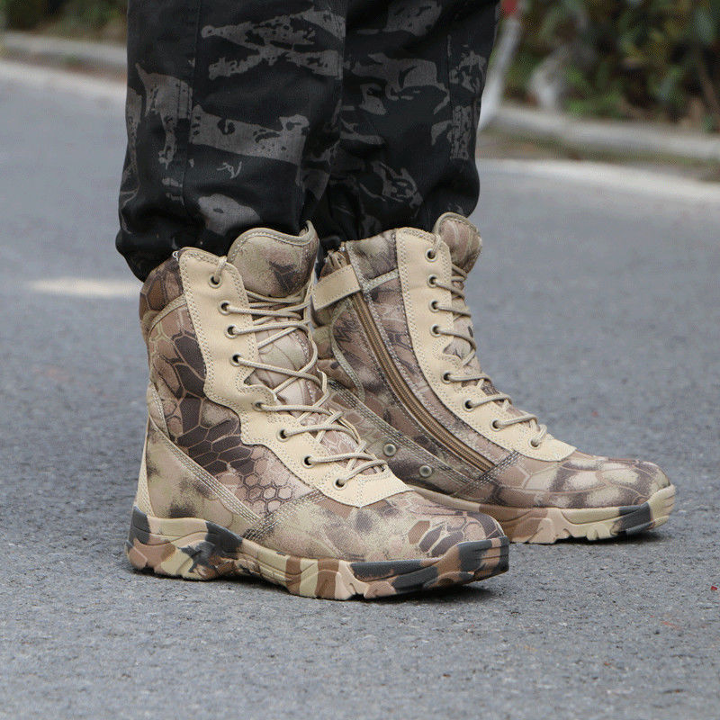 Outdoor python print camouflage ground combat boots