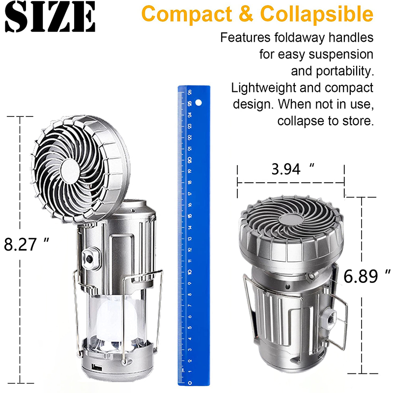 6 in 1 Portable Outdoor LED Camping Lantern With Fan
