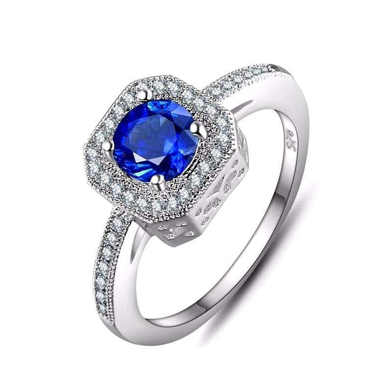 Fashion Jewelry 925 Sterling Silver Blue Diamond Engagement Ring Fashion Jewelry Sets for Women