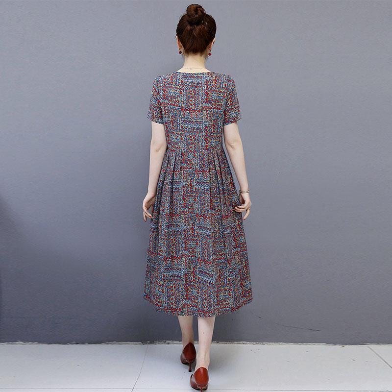 【Buy 1 get 1 free】Retro floral cotton and linen dress