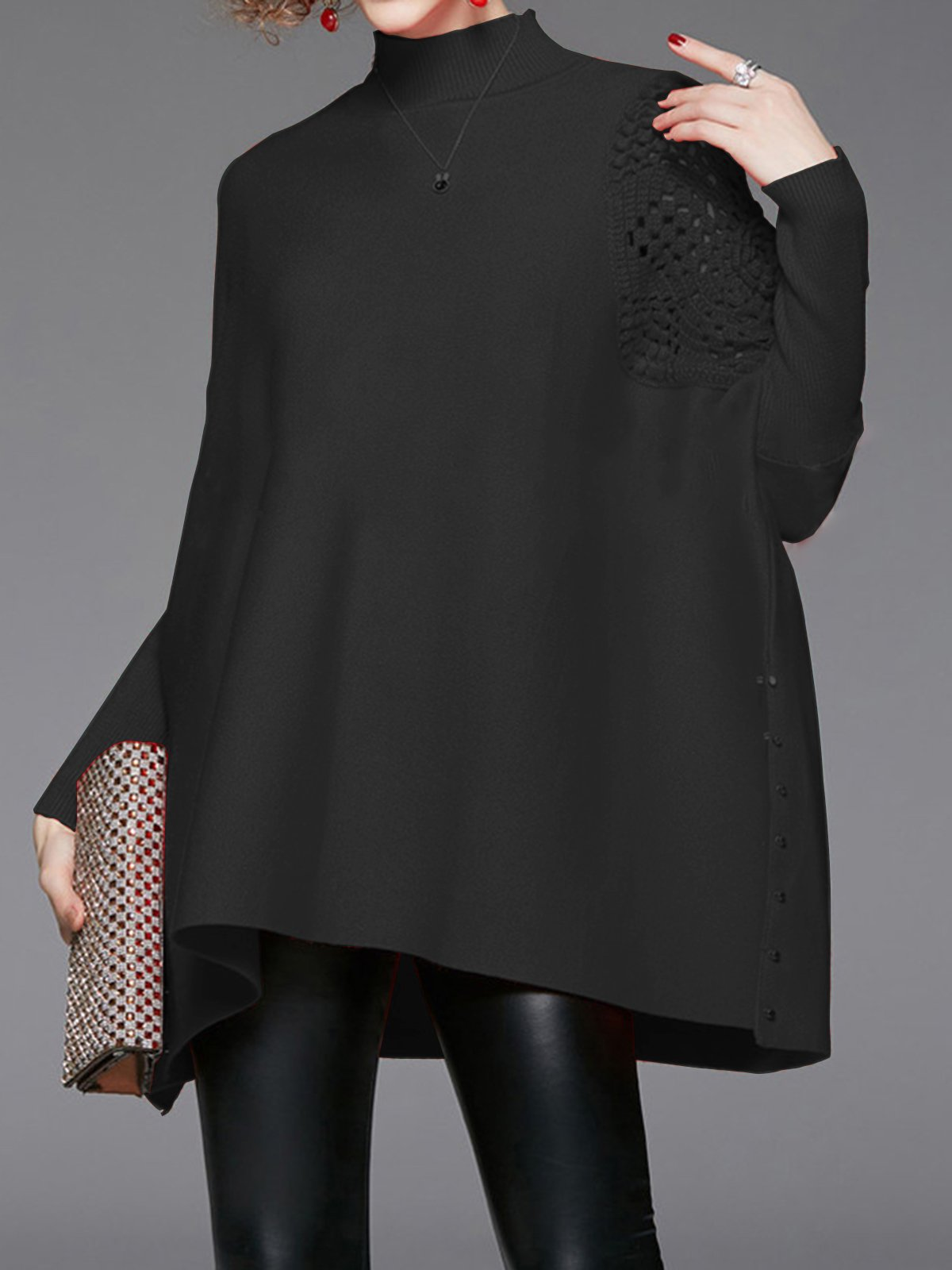 High Neck Solid Hollow Out Knitted Sweater