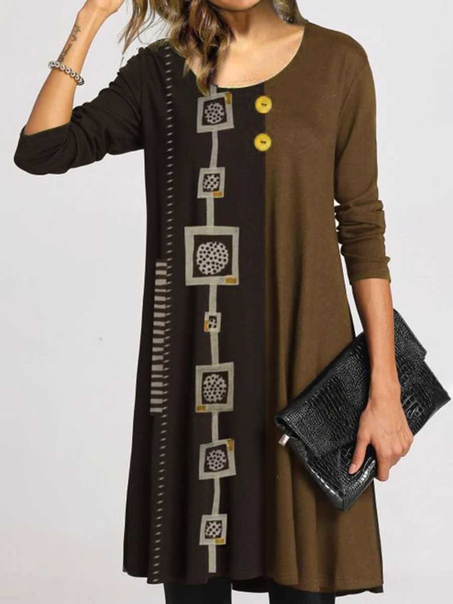 Simple Casual Loose Round Neck Long Sleeve Color Matching Dress