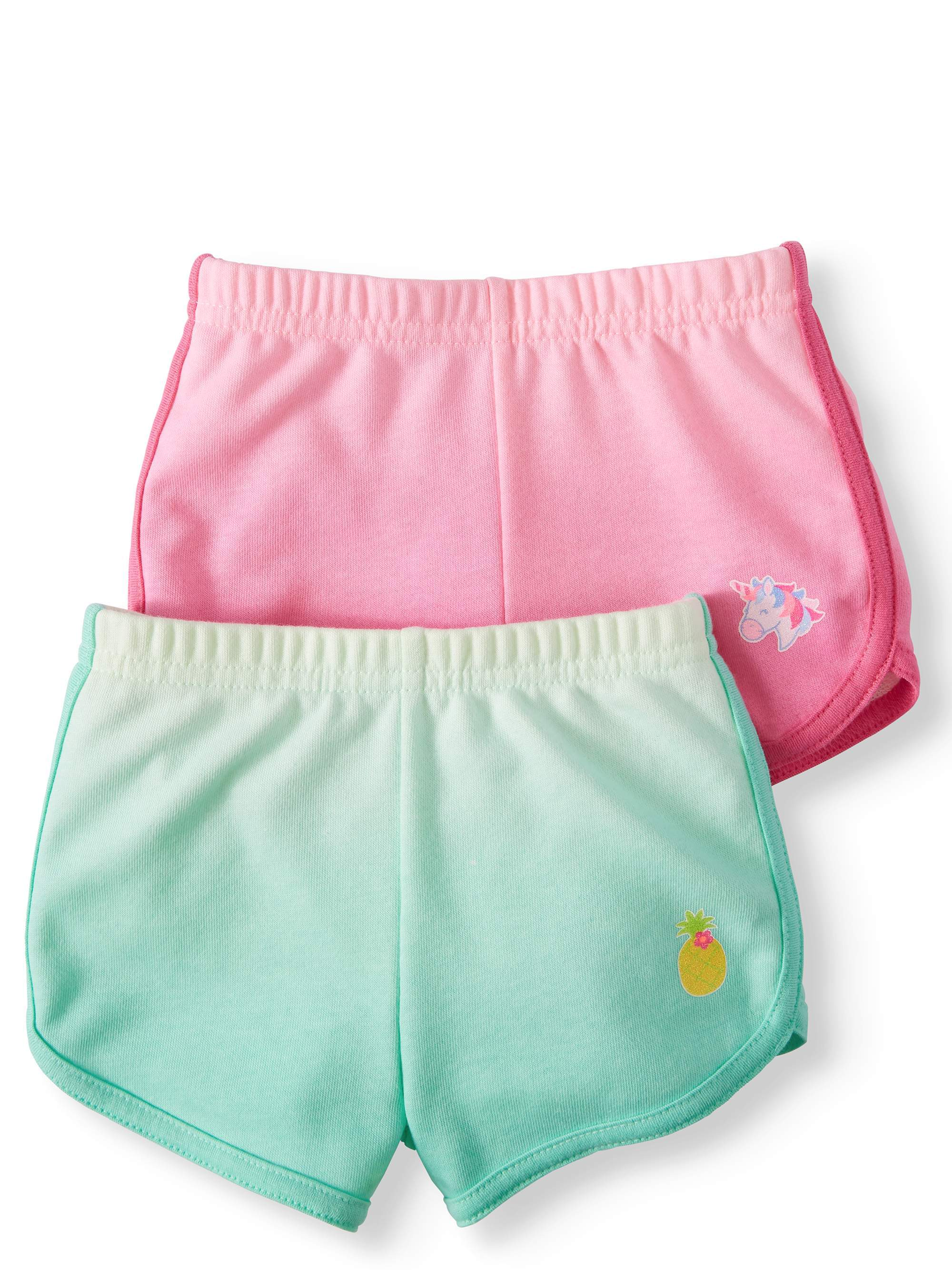 Garanimals Baby Girl French Terry Dolphin Shorts, 2pc Multi-Pack