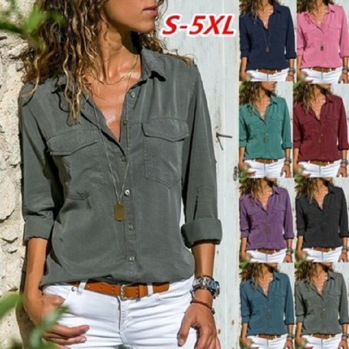 Long Sleeve Turn-Down Collar Solid Cotton-Blend Blouses