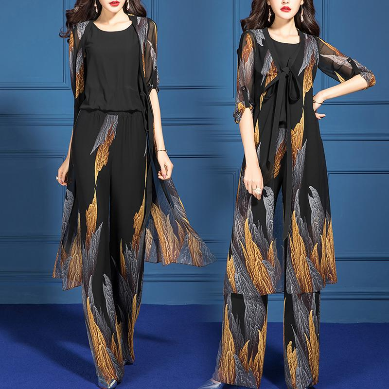 Black Gold Wide Leg Pants Three Piece Set
