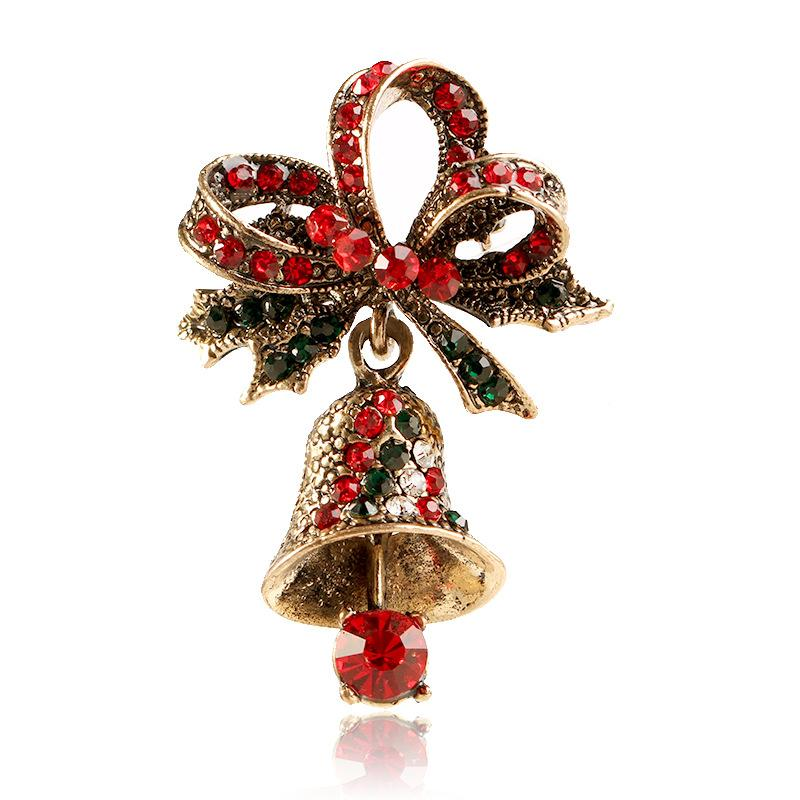 Rhinestone Bell Brooches for Women Trendy Christmas