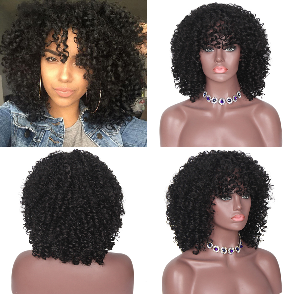 Lacwig® |  Afro Kinky Curly Wig Synthetic Short Wig With Bangs Mixed Brown and Blonde Wig for Black Women
