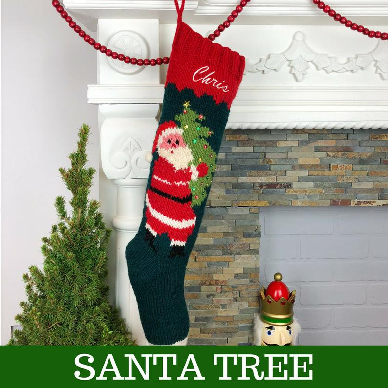 Christmas Stocking Personalized Hand Knit Monogrammed Personalised Holiday Custom Sock