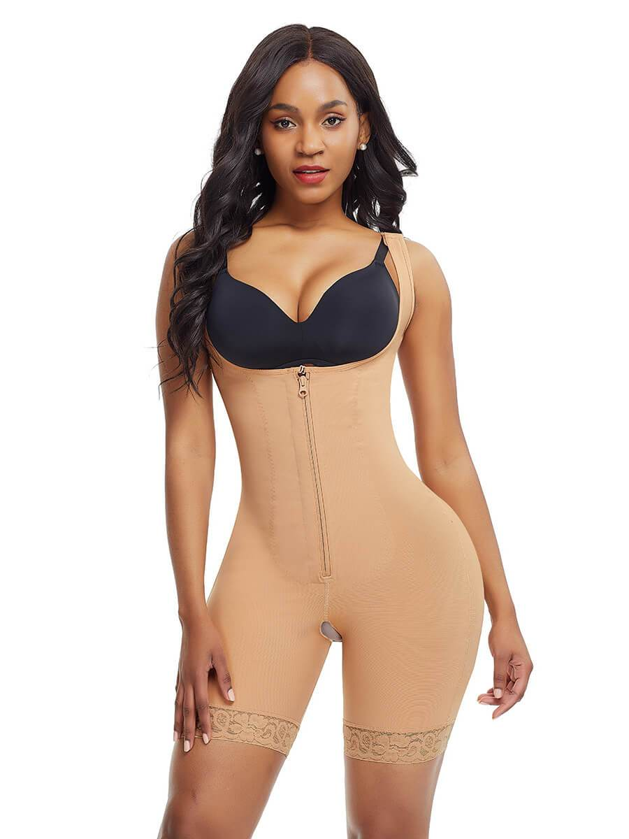 okiwilldo Bodysuit Shaper With Hook-and-Eye Zipper Closure