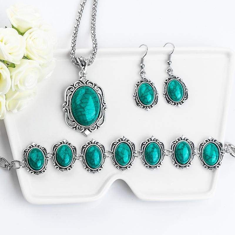 Vintage Tibetan Silver & Turquoise Necklace Bracelet Earrings Jewelry Sets for Women