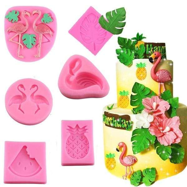 Hawaiian Tropical Theme Fondant Mold Flamingo Turtle Leaf Candy Chocolate Silicone Molds DIY Summer Party Cake Decorating Tools