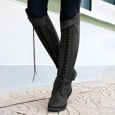 Women Plus Size Lace Up Horse Riding Boots