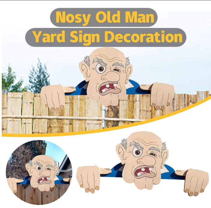 Fence Decoration Nosy Old Man and Lady Garden Yard Art