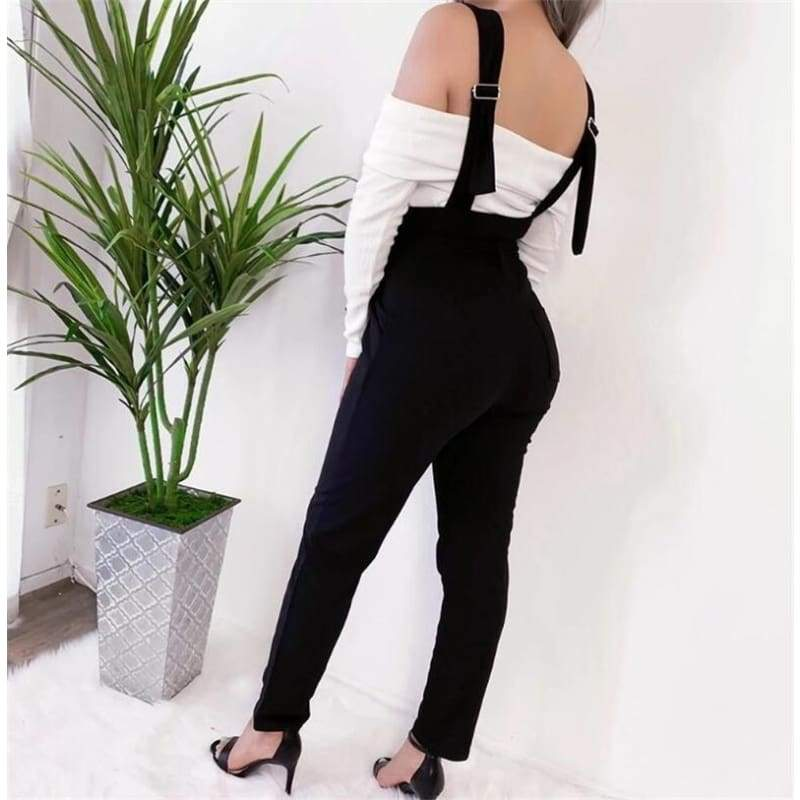 Women Fashion Black Suspender  Pants High Waisted Buttons Decorate Casual Winter/Autumn Trousers