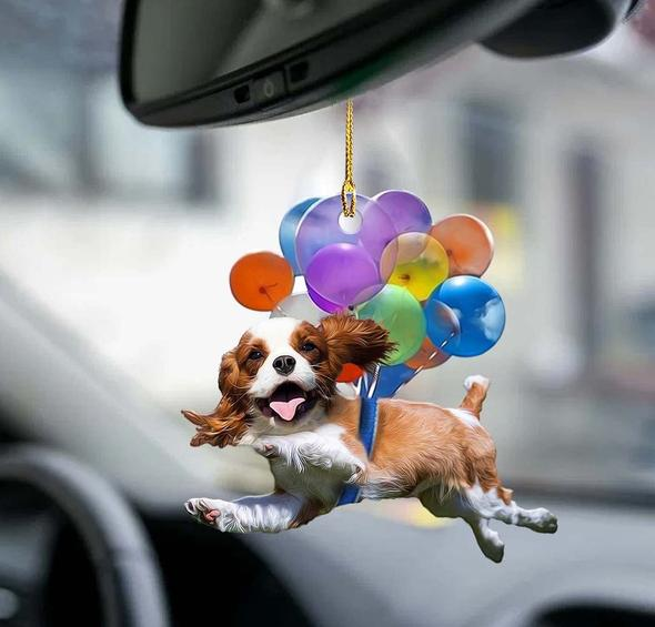 Cavalier King Charles Spaniel Dog Fly With Bubbles Car Hanging Ornament