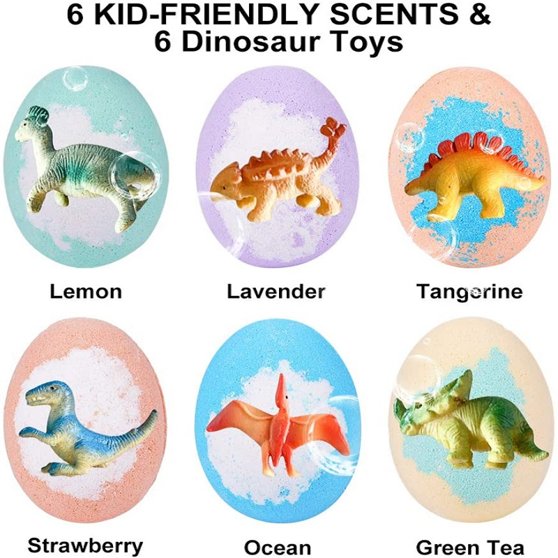 6 Pack Dinosaur Egg Bath Bombs for Kids