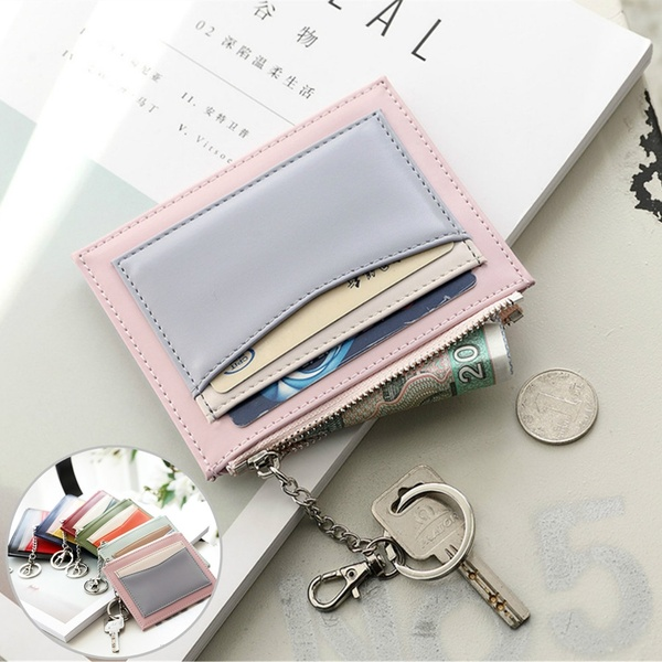 Contrast Color Mini Zipper Credit Card Holder for Women Lady Small Card Wallet Cute Bank Cards Pack Girls Coins Purse