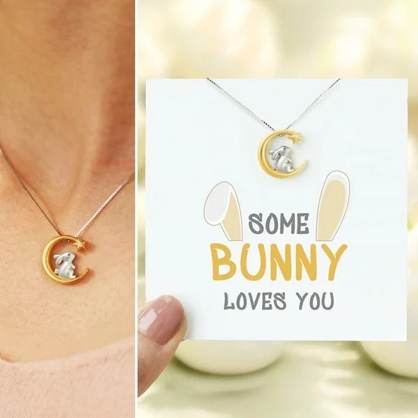 SOME BUNNY LOVES YOU BUNNY RABBIT NEW MOON NECKLACE