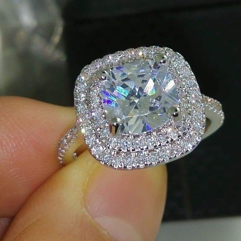 High Quality 8mm Cushion Cut White Topaz Round Zircon 925 Solid Silver Engagement Ring