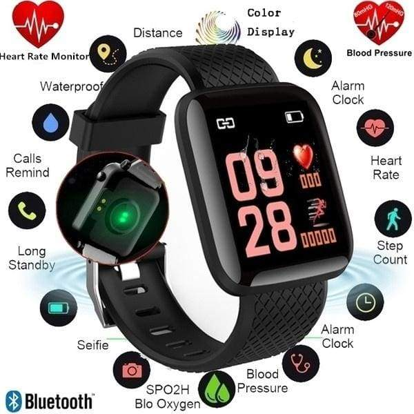 116PLUS Bluetooth Smart Watch 1.3inch TFT Color Screen IP67 Waterproof Sport Heart Rate Monitor Fitness Color Screen Activity Tracker Smartwatch Sport For Android IOS PK Fitbit Charge 2 Fitbit Versa Apple watch 4