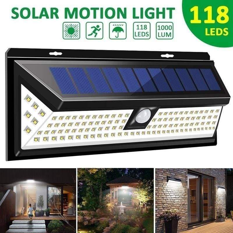 118LED 48LED Solar Lights Wall Solar Light Outdoor Security Lighting Nightlight Waterproof IP65 Motion Sensor Detector Garden Back Door Step Stair Fence Deck Yard Driveway