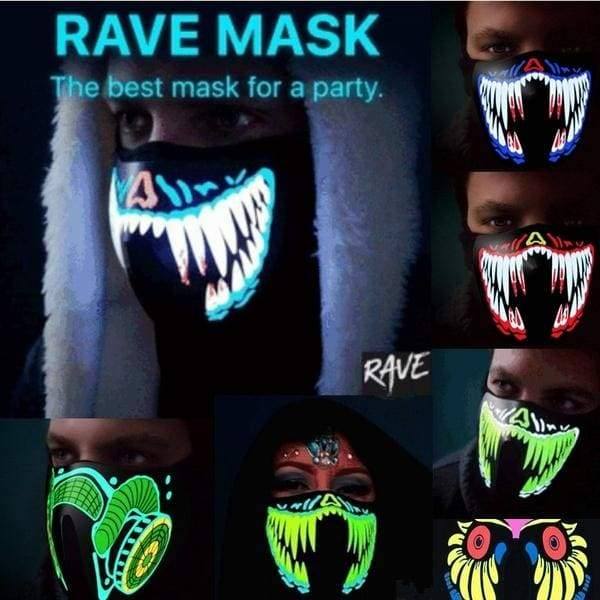 NEW Style Glowing Music LED Party Mask with Sound Active for Dancing,Riding,Skating,Party and Any Festival