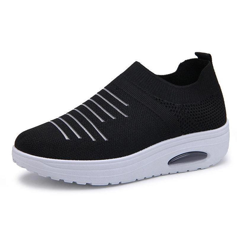 Women's Mesh Cushioned Slip On Platform Casual Flying Woven Shoes