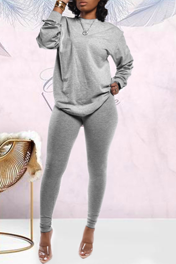 Solid Color Long Sleeve Sports Set