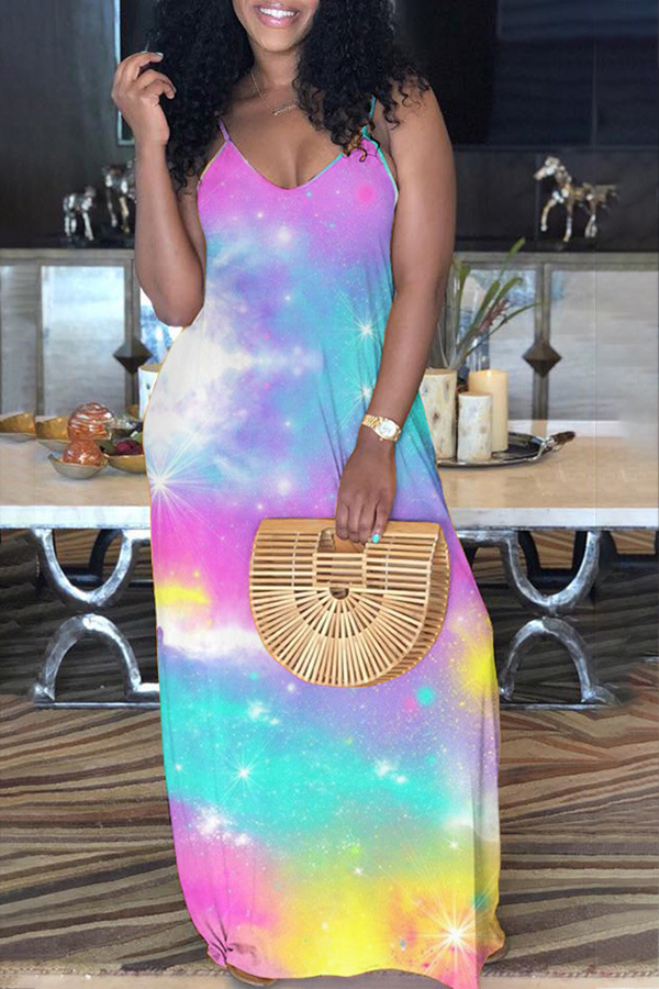 Casual Colorful Tie-dye Sling Dress