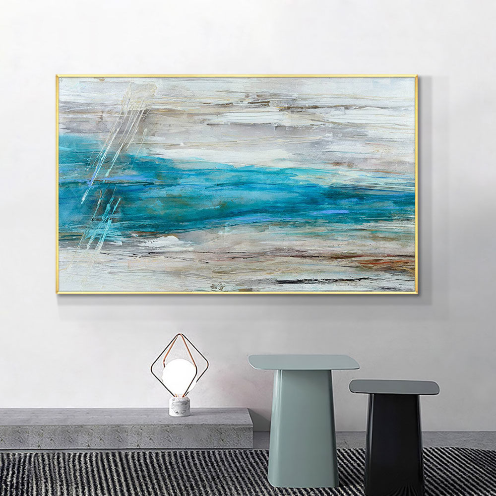 Abstract Blue Sea Pictures Hand Painted Oil Painting On Canvas Unframed Handmade Wall Art For Bedroom Living Room Home Decor