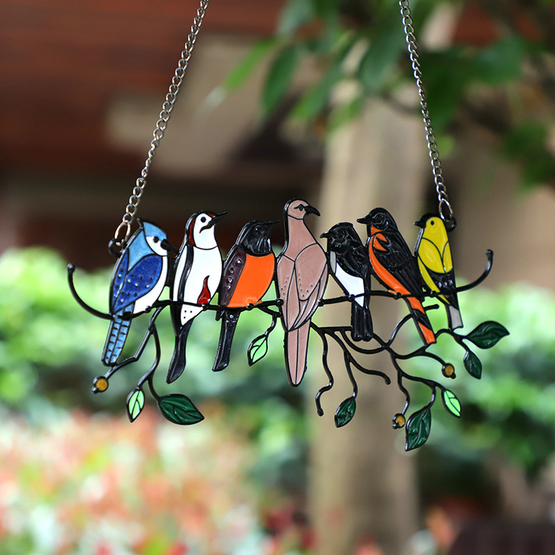 Birds Stained Glass Window Hangings - Father's Day Gifts