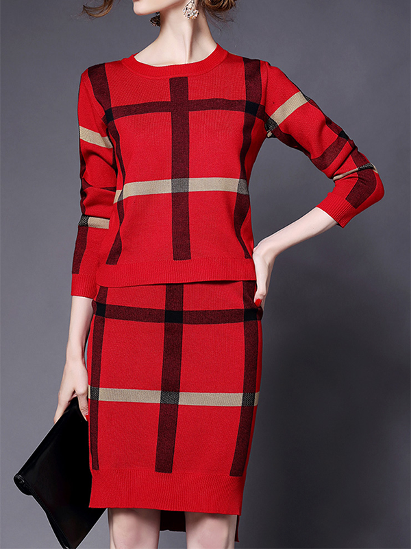 Checked Round Neck Long Sleeve And Half Skirt Casual Set