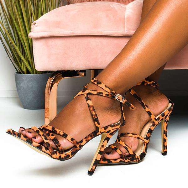 Faddishshoes Printed Strappy Pointed High Heels