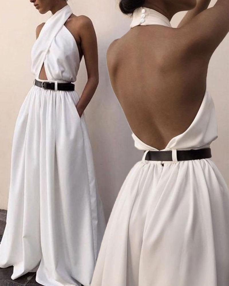 White Sexy Sleeveless Hanging Neck Backless Jumpsuit