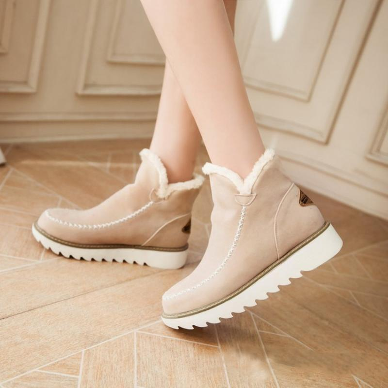 Ankle Boots Fur Lining Flat Heel Boots For Women