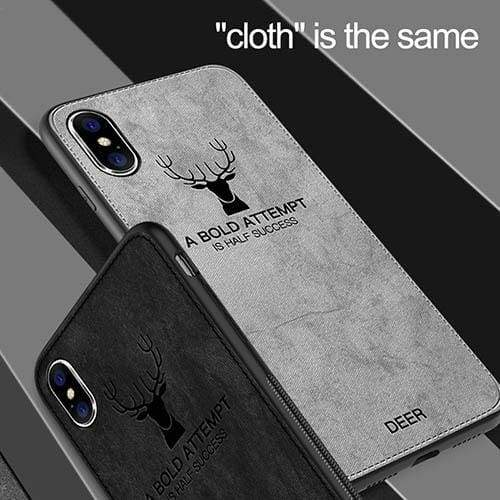 Cloth Texture Deer TPU Case For iphone 7 8 plus XS MAXR 8 6S Plus Ultra Thin Canvas Soft Silicon Cover Case For Samsung Galaxy  S8 S9 Plus Note 8/9 Luxury Soft Back Cover Phone Accessories Coque
