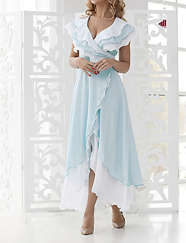 Women's Plus Size Vacation Sexy A Line Dress - Solid Colored Ruffle Wrap V Neck Spring Light Blue  S M L XL