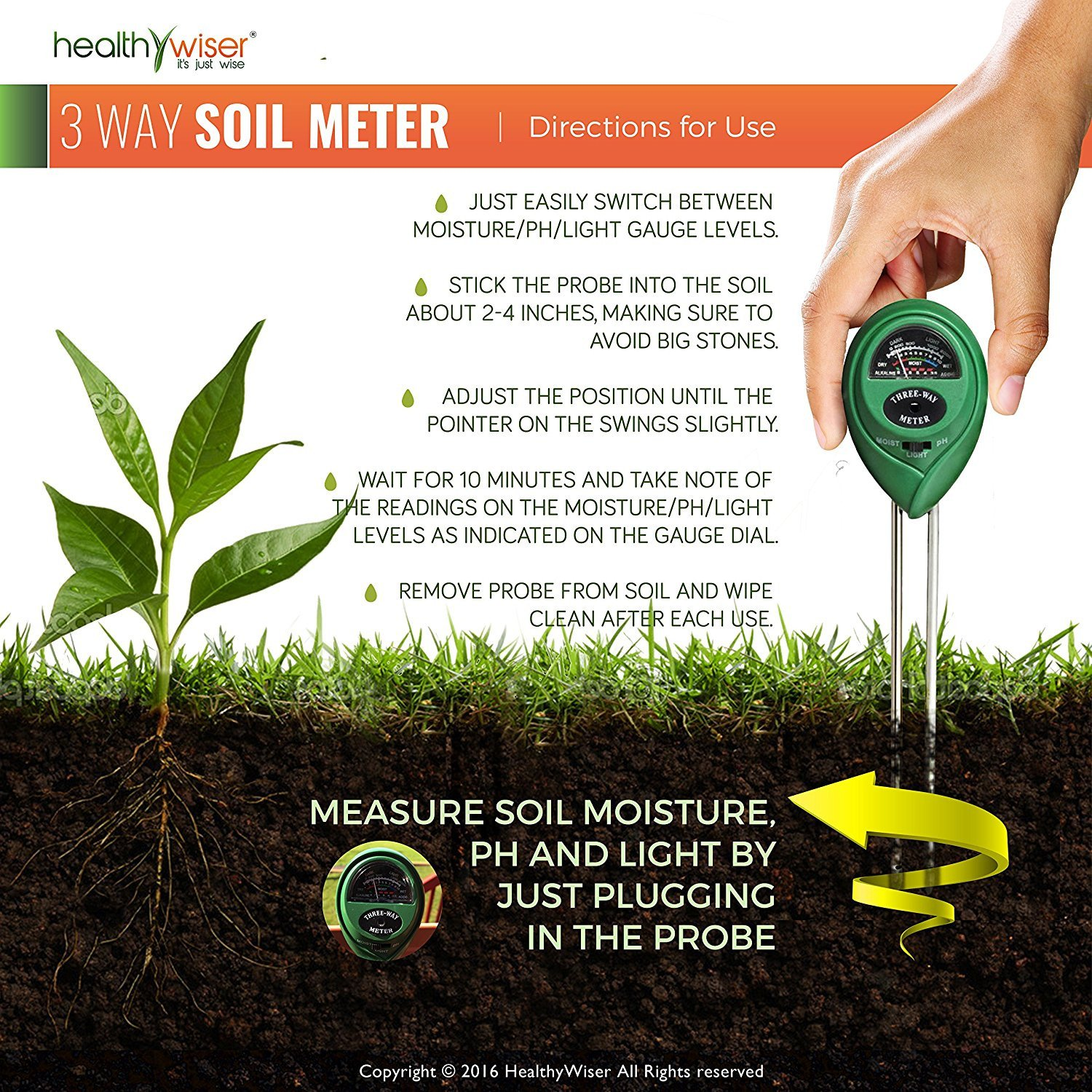【50% OFF TODAY】🥰3-in-1 Soil Meter with Moisture Light and PH Test Function