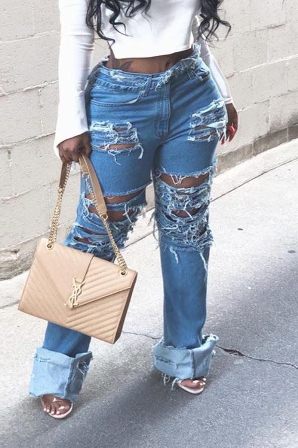 Ripped Stitching Straight Jeans