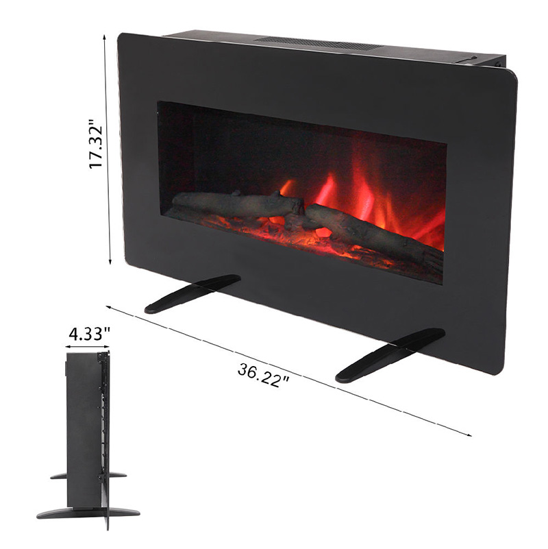 Buyonhome 400W Adjustable Glass Electric Wall Mount & Free Standing Fireplace Heater